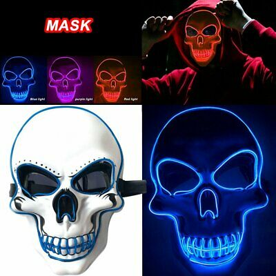 Light Up LED Stitches Mask Costume Halloween Clubbing Mask Rave Cosplay Party MY
