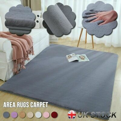 Natural Faux Rabbit Fur Rug Fluffy Soft Wool Shaggy Area Rugs Carpet Mat UK