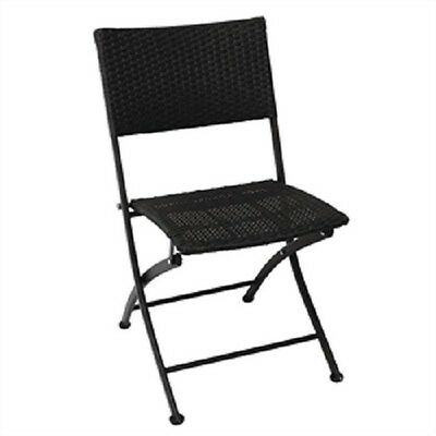Bolero PE Wicker Black Folding Chairs (Pack of 2) GL303 Terrace Pavement