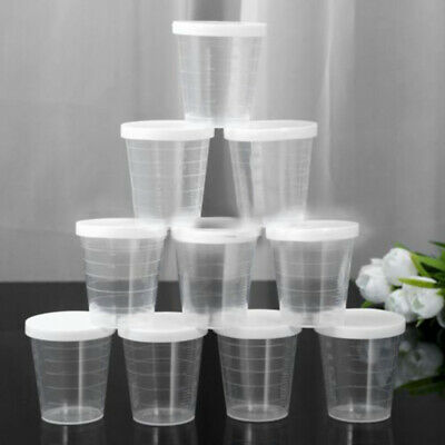 New 10x Medicine Measuring Measure Cups With White Lids Cap Clear Container 30ml