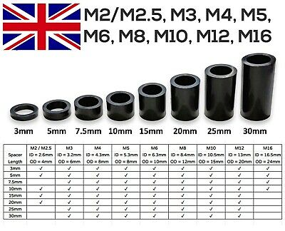 Black Nylon Spacers Standoff Washer Plastic All Sizes M2 to M16 [CHEAPEST]