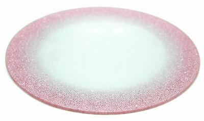 Round Glitter Glass Candle Holder Display Plate Perfume Tray ~ Colour Varies
