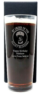 Personalised Peaky Blinders Pint Glass Gift Birthday/Christmas/Dad/Son/Grandad