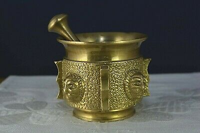 Vintage Solid Brass Mortar & Pestle Old Kitchen Herbs Crasher Apothecary Lion