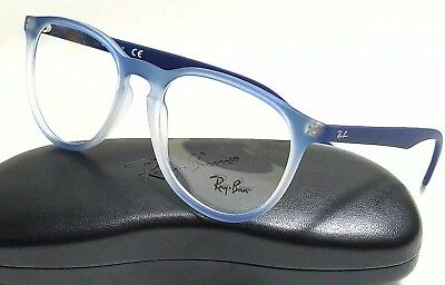 New Authentic RAY-BAN RX7046 5601 Blue Gradient Rubber 53/18/145 Rx Eyeglasses
