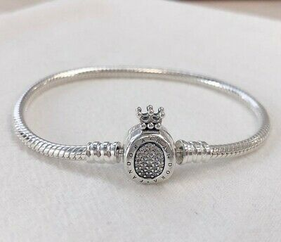925 Sterling Silver Moments Crown O & Snake Chain Bracelet Chain