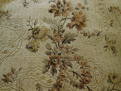 Antique French Floral Garland Cotton Tapestry Fabric~ Mustard Gold Olive Tan