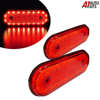 2x 12v Led Oval Clearance Red Tail Side Marker Lights Position For Cab Truck