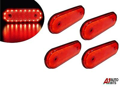 4x 12v Led Oval Clearance Red Tail Side Marker Lights Position For Cab Truck