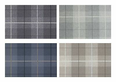 Arthouse Country Tartan Heavyweight Vinyl Wallpaper - Charcoal Taupe Grey Blue