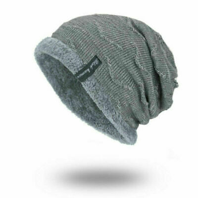Toboggan Striped Slouchy Warm Knit Cap Work Winter Ribbed Men's Soft Beanie Hat