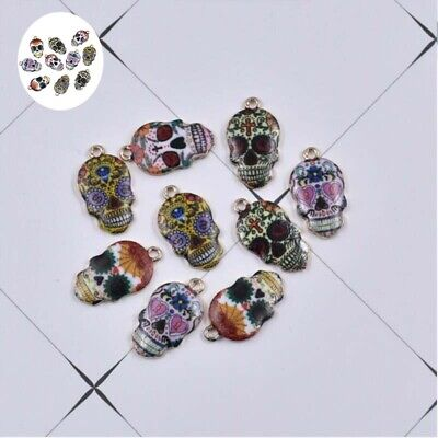 DIY Jewelry Charm Mixed Color 22*12mm 10X Sugar For  Pendant Enamel Skull