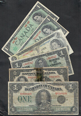 1923-73 Dominion And Bank Of Canada 1 Dollar Notes Lot Of 6