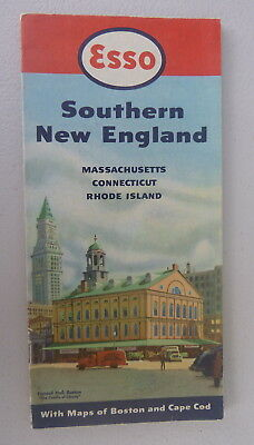 1950 S.  New England road map Esso oil gas Faneuil Hall Massachusetts CT RI