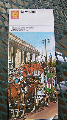 1972 Milwaukee street  map Shell  oil gas central and Waukesha Wisconsin