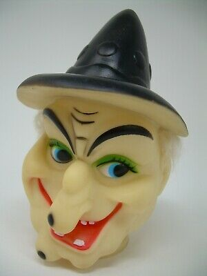 Vtg Fibre-Craft Halloween Scary Witch Rubber Doll Head Decoration w/Hair 6 3/4""