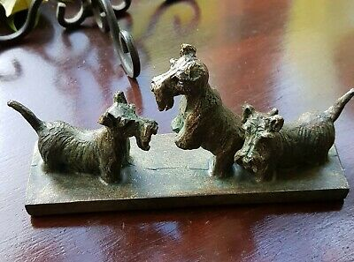 Antique Vintage Scottish Terrier Dog Trio Brass Bronze Figurine Ornament