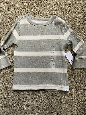 NWT Baby Gap boy long sleeve Gray And White thermal shirt; size 18-24m