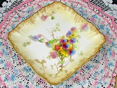 Doulton Burslem Blushware Painted Purple Floral 4 Footed Square Bowl