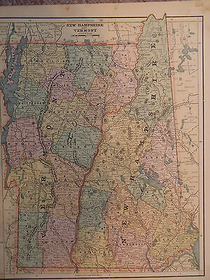 Vintage Original 1887 Map New Hampshire Vermont Old Antique Atlas Map *Free S&H