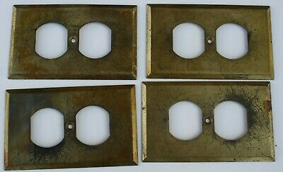 4 Stamped Antique Brass Wall Electric Outlet Switch Plate Cover