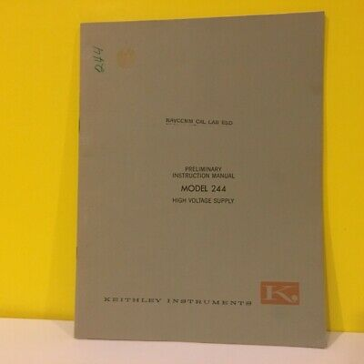 Keithley Preliminary Instruction Manual Model 244 High Voltage Supply