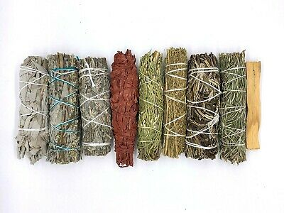 Set of 9: Sage Smudge Sticks Bundle Sampler Kit: White, Black, Blue, Red, Palo