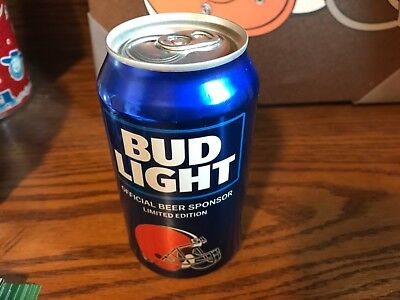 2018 & 2019 NFL Cleveland Browns BUD LIGHT BEER CAN FOOTBALL New bottom opened