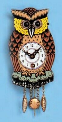 Owl with Moving Eyes and Pendulum Mechanical Movement Mini German Clock Germany
