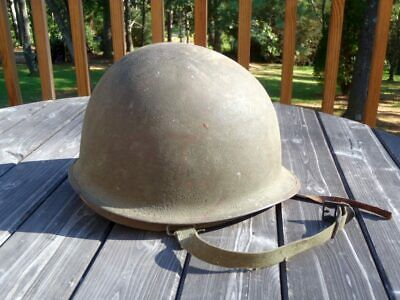 Vintage Original Steel WORLD WAR 2 Green Army Helmet With Liner and Chin Straps