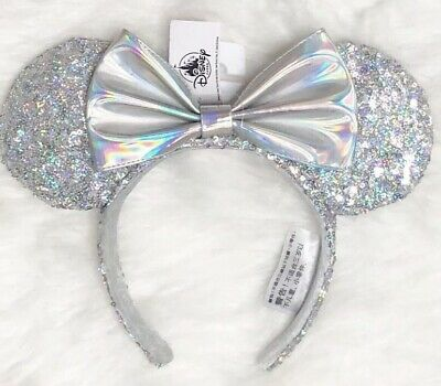 Disney Parks Minnie Mouse Ears Magic Mirror Metallic Iridescent Silver New