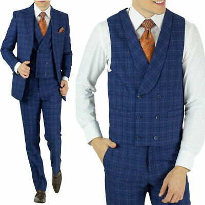 Men's Blue Checkered Modern-Fit Suit Double-breasted Vested Wedding Groom Suits