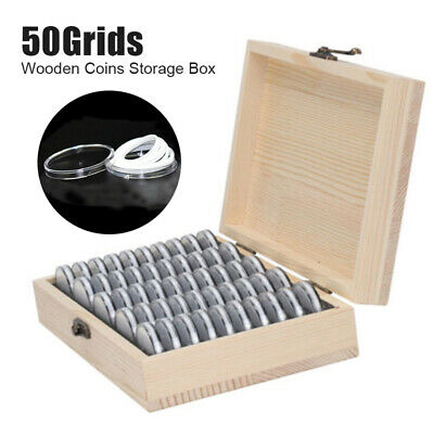 Wooden Coins Display Storage Box Case for Collectible Coin With 50 Capsules UK