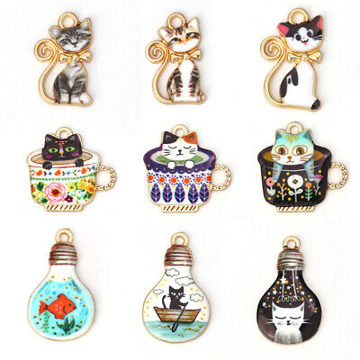 10Pcs Cat Enamel Charms Pendants For DIY Necklace Jewelry Making Accessories