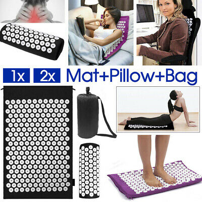 2x Massage Acupressure Mat Yoga Shakti Sit Lying Mats Pain Stress Soreness Relax