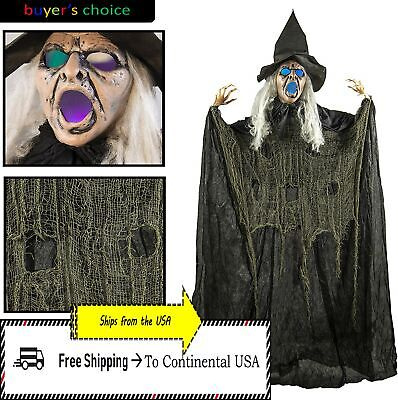 Halloween Haunted House Life Size Hanging Led Spooky Eyes Witch Prop Decor 6ft
