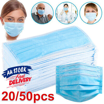 50/200pcs Disposable Clinic Medical Mouth Ear Loop Safe Flu Face Mask Sergical