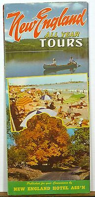 1950's New England Hotel Association vintage road map travel brochure b
