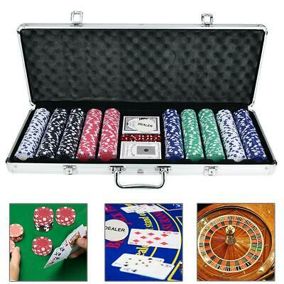 500 Chips Poker Chip Set Holdem Cards Casino Game with Black Aluminum Case New