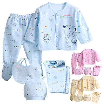 Cotton Outfit for Newborn Baby Boys Girls Clothing Tops Hat+Pants Outfit 5PCs