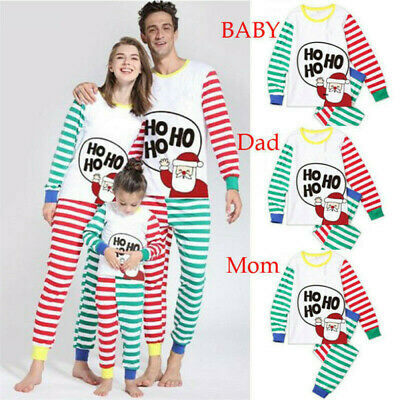 Family Matching Christmas Pyjamas PJS Set Xmas Ho Ho Santa Sleepwear Nightwear