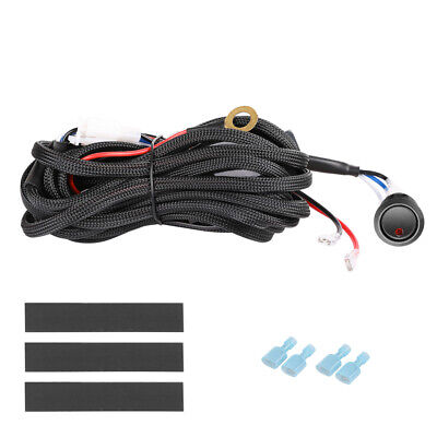Wiring Loom Harness Kit 2-Way Switch Fuse For LED Work Driving Light Bar 12V 40A