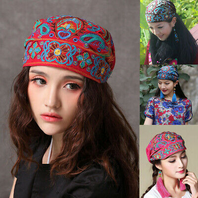 Women Mexican Ethnic Hats Vintage Embroidery Flowers Bandanas Red Print Hat Cap
