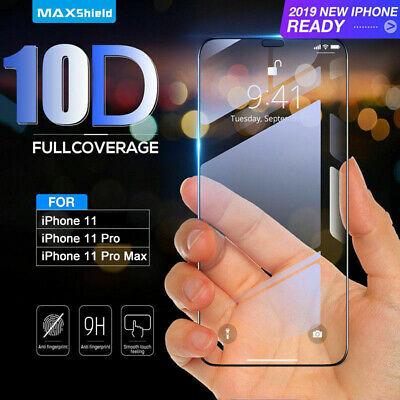 For Apple IPhone 11 Pro Max 10D Full Cover Real Tempered Glass Screen Protector