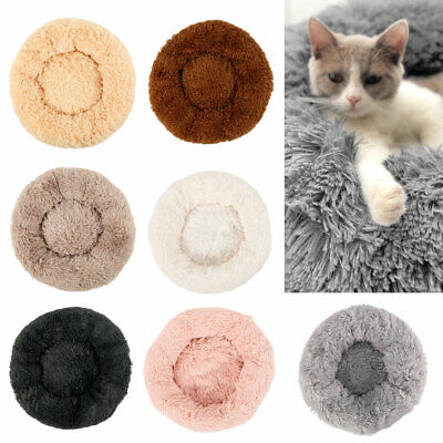 Pet Dog Cat Calming Bed Warm Soft Plush Round Cute Nest Comfortable Sleeping UK.