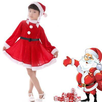 Santa Claus Suit Christmas Fancy Dress Costume Kids Girls Childrens Xmas Outfit