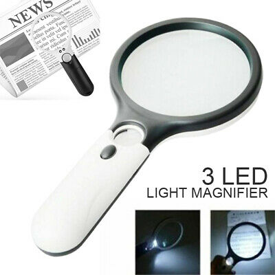3 LED 45X Handheld Magnifier Reading Magnifying Glass Lens Jewelry Loupe Tool