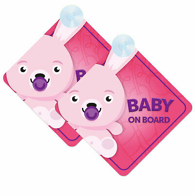 Baby On Board Twin Pack of Baby Rabbit / Bunny Design Car Signs (2pcs) Girl Pink