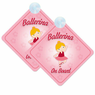 Baby/Child On Board Twin Pack of Ballerina Design Car Signs (2pcs) Girl Cute