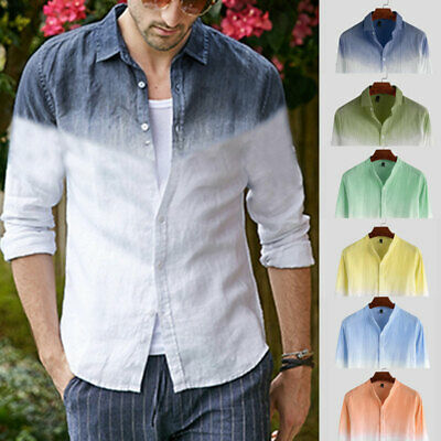 Mens Fashion Gradient Casual Shirt Long Sleeve Slim Fit Dress Shirts Collar Tops
